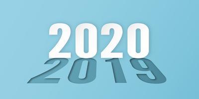 Felice anno nuovo 2020 con 2019 in ombra, anno del ratto in carta tagliata e stile artigianale. vettore