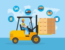 Uomo di consegna con pacchetti sul carrello elevatore con icone di servizio di consegna