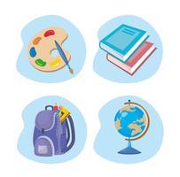 Insieme di oggetti scolastici vettore