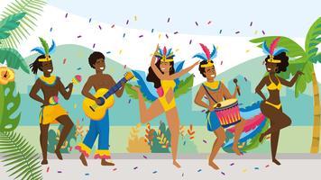 Musicisti maschi e ballerini di carnevale femminile sulla strada con coriandoli vettore