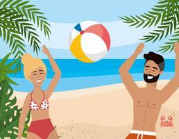Donna ed uomo con la barba che giocano con il pallone da spiaggia vettore