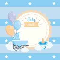 Etichetta per baby shower con carrello, ciuccio e palloncini vettore