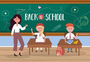 Insegnante di sesso femminile con gli studenti alla scrivania con il messaggio di ritorno a scuola vettore
