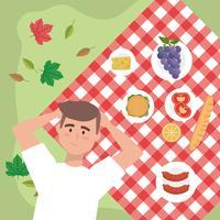 Vista aerea dell'uomo che si rilassa sulla coperta di picnic con l'alimento di picnic