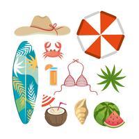 Insieme di oggetti ed elementi di vacanze estive vettore
