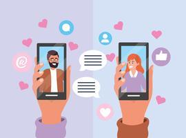 Coppia il messaggio sullo smartphone con la bolla e i cuori di chiacchierata vettore
