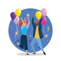 Giovane e donna che balla alla festa con palloncino e cappello vettore