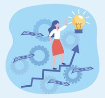 Donna di affari che cammina sulla freccia e sulla lampadina di idea