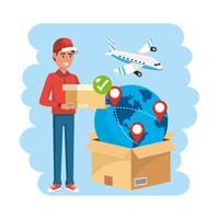 Uomo di consegna con scatola e globo con aeroplano