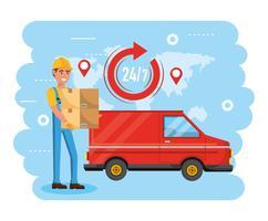 Uomo di consegna con scatole e camion di consegna