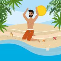 Giovane con la barba che salta sulla spiaggia vettore