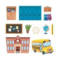 Set di oggetti scolastici e didattici vettore