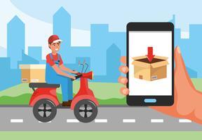 Uomo di consegna su scooter e smartphone con display a scatola