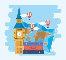 Big ben con valigia e mappa del mondo