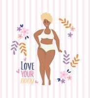 Adoro il messaggio del tuo corpo con la donna afroamericana in biancheria intima vettore