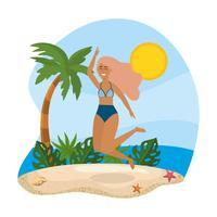 Donna in costume da bagno che salta sulla spiaggia vettore