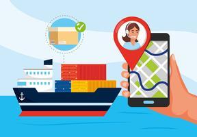Nave di trasporto e mano con smartphone con gps