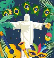 Statua del Cristo Redentore con decorazioni di carnevale vettore