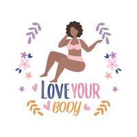 Donna in biancheria intima con amore il messaggio del tuo corpo con fiori vettore
