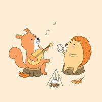 Scoiattolo d'autunno e riccio suonando musica vettore