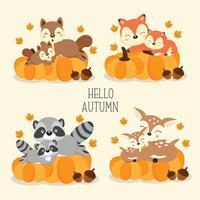Simpatici animali del bosco in autunno.