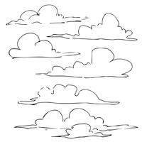nuvole disegnate a mano lineart set vettore