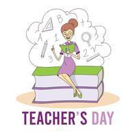 Insegnante che si siede sopra il fumetto dei libri per il giorno dell'insegnante