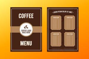 Modello di menu della caffetteria vettore