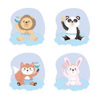 Set di cuccioli di animali in pannolini con sonagli vettore