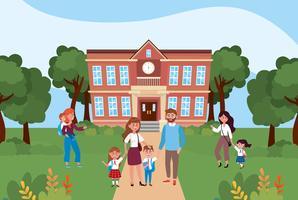 Madri e padri davanti alla scuola con i bambini vettore
