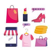 Insieme di oggetti al dettaglio e-commerce