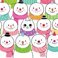 gatto e pupazzo di neve d'inverno