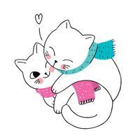 coppia e sciarpa di gatti invernali vettore