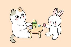 gatto e coniglio che giocano vettore