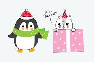 pinguino e gatto di inverno in scatola della ragazza
