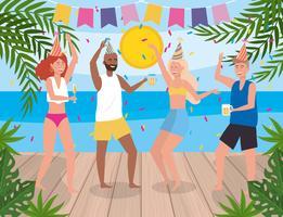 Uomini e donne che ballano alla festa vicino all'acqua vettore
