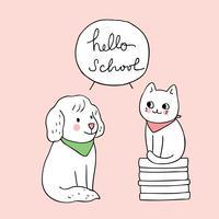 ritorno a scuola cane e gatto vettore