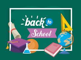 Messaggio di ritorno a scuola con materiale scolastico e materiale scolastico vettore