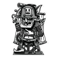 pirata illustrazione in bianco e nero design tshirt