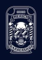 maglietta dell'illustrazione del cranio del barbiere