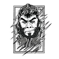 Progettazione della maglietta dell'illustrazione in bianco e nero della gorilla