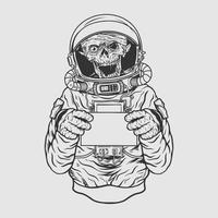 progettazione della maglietta dell'illustrazione di vettore dell'astronout del cranio