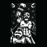 lottatore illustrazione in bianco e nero tshirt design