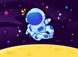 Vector cartoon astronauti galleggianti nella galassia con uno sfondo di stelle scintillanti.