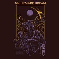 Grim Reaper illustrazione vettoriale tshirt design
