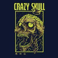 progettazione della maglietta dell'illustrazione di vettore del cranio pazzo