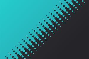 Lo sfondo vettoriale mezzetinte divide le sfere blu e nere che sfumano gradualmente.