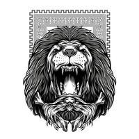 il leone ruggisce illustrazione in bianco e nero tshirt design