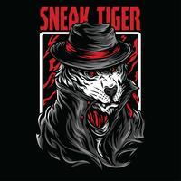 design tshirt illustrazione vettoriale di tigre di soppiatto