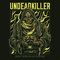 disegno della maglietta dell'illustrazione dell'assassino del non morto